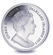 Falklands / 1 Crown / Titanium / 10g / 36.1mm / Mintage: 2,000.