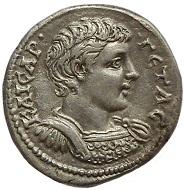 Geta as caesar. Laodicea ad Mare, 205-207 AD. AR tetradrachm. Extremely fine. 1,750 EUR.