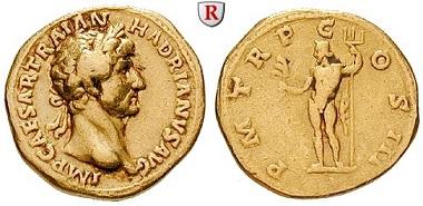 Römische Kaiserzeit. Hadrianus, 117-138. Aureus 119-125. Rom. Sehr schön. 4.400 EUR.