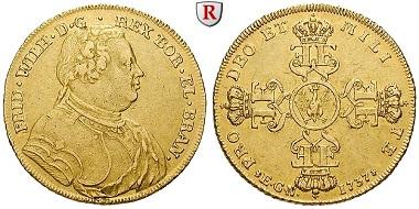 Altdeutschland. Brandenburg-Preußen. Friedrich Wilhelm I, 1713-1740. Wilhelms d'or 1737. Berlin EGN. Sehr schön+. 9.750 EUR.