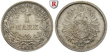 Deutsches Kaiserreich. 1 Mark 1875. J. Vorzüglich-stempelfrisch / Stempelfrisch. 550 EUR.