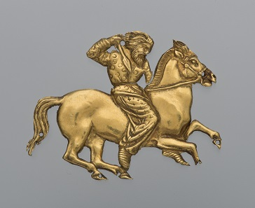 A gold plaque depicting a Scythian rider with a spear in his right hand. Gold; second half of the 4th century BC, Kul' Oba. © The State Hermitage Museum, St Petersburg, 2017. Photo: V Terebenin.