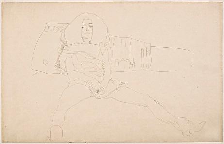 Gustav Klimt, Sitzender weiblicher Halbakt, 1904. Leopold Museum, Vienna. Reproduced in: Die Hetärengespräche des Lukian.