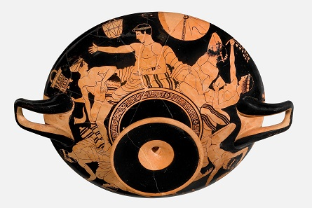 Attisch-rotfigurige Schale des Tarquinia-Malers, um 470-460 v. Chr. Antikenmuseum Basel und Sammlung Ludwig, © Antikenmuseum Basel und Sammlung Ludwig.
