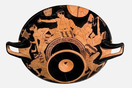 Attic-red figure cup of the Tarquinia Painter, around 470-460 BC. Antikenmuseum Basel und Sammlung Ludwig, © Antikenmuseum Basel und Sammlung Ludwig.