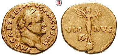 Römische Kaiserzeit. Vespasianus 69-79. Aureus 72-73, Rom. Sehr schön + / sehr schön. 3.500 EUR.