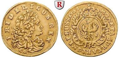Altdeutschland. Brandenburg-Preußen. Friedrich I, 1701-1713. Dukat 173. Königsberg CG. Sehr schön. 6.900 EUR.