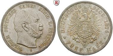 Deutsches Kaiserreich. Preußen. Wilhelm I 1861-1888. 5 Mark 1876, B. Vorzüglich-stempelfrisch. 550 EUR.