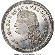 1879 $4 Flowing Hair Four Dollar, Judd-1637, Pollock-1835, High R.7, PR67 PCGS. CAC. Realized: 120,000 USD.