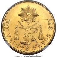 Mexico. Republic gold 20 Pesos 1900 Mo-M MS65+ NGC. Realized: 38,400 USD.