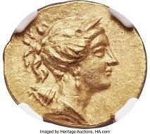 IONIA. Ephesus. Ca. 133-88 BC. AV stater (20mm, 8.43 gm, 12h). NGC MS 5/5-3/5. Realized: 18,000 USD.