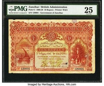 Zanzibar Government 10 Rupees 1.2.1928 Pick 3. Realized: 72,000 USD.