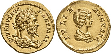 Lot 244: Septimius Severus, 193-211. Aureus, Rom, 201. Schätzpreis: 30.000 CHF.