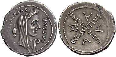 Los 22: C. Iulius Caesar und C. Cossutius Maridianus. Denari 44, AR 3,53 g.