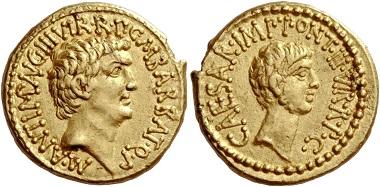 Los 33: Marcus Antonius und C. Caesar Octavianus mit M. Barbatius. Aureus, Heeresmünzstätte mit M. Antonius 41, 8,02 g.