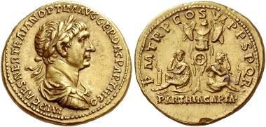 Los 253: Trajan 98-117. Aureus nach 20. Februar bis etwa Herbst 116, AV 7,37 g.