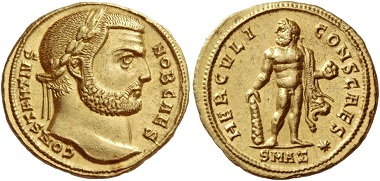 Los 570: Aureus des Constantius Chlorus. Antiochia etwa 293, AV 5,31 g.
