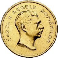 Karl II. 100 Lei 1939 auf den 100. Geburtstag von Karl I. Aus Sammlung Phoibos. Sehr selten. Vorzüglich. Taxe: 20.000,- Euro. Aus Künker Auktion 298 (28. September 2017), Nr. 4441.
