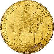 Karl I. 50 Lei 1906, Brüssel, auf das Jubiläum 40 Jahre Regierung von Karl I. Aus Sammlung Phoibos. Vorzüglich. Taxe: 1.000,- Euro. Aus Künker Auktion 298 (28. September 2017), Nr. 4436.