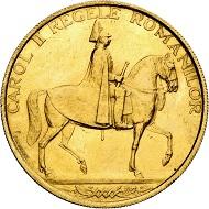 Karl II. 12 Dukaten 1940, Bukarest, auf das Jubiläum 10 Jahre Regierung. Aus Sammlung Phoibos. Sehr selten. Vorzüglich bis Stempelglanz. Taxe: 7.500,- Euro. Aus Künker Auktion 298 (28. September 2017), Nr. 4443.