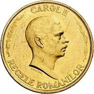 Karl II. 100 Lei 1940, Bukarest, auf das Jubiläum 10 Jahre Regierung. Aus Sammlung Phoibos. Sehr selten. Vorzüglich. Taxe: 6.000,- Euro. Aus Künker Auktion 298 (28. September 2017), Nr. 4444.