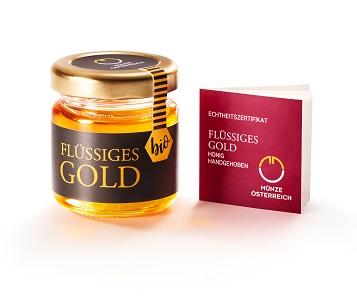 """""""Flüssiges Gold"""" / handgehobener Bio-Honig / 1,6 oz (50 g) / Entwurf: Bienenkolonie der Münze Österreich in Kooperation mit Imkermeister Gernot Gangl / Auflage Erstausgabe: 4000."""