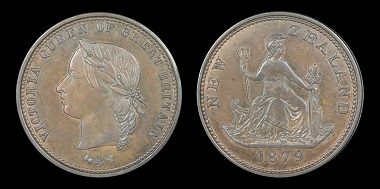 Lot 314: New Zealand 1879 pattern penny. EF. Estimate: 5,000 NZD.
