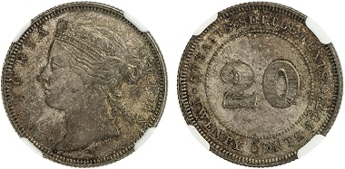 Lot 703: Straits Settlements. Victoria, 1837-1901. Silver 20 cents, 1873. NGC MS64. Realized: 10,000 USD.