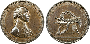 Lot 1200: United States: 1797 medal (66.65g), Baker-70C, 54mm bronze medal for George Washington's Retirement from his Commission and the Presidency by Thomas Halliday. Realized: 3,250 USD.