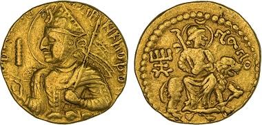 Lot 1268: India. Kushan. Huvishka, ca. 155-187, gold dinar. Attractive VF. Realized: 55,000 USD.