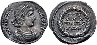 Lot 602: Constantius II. AD 337-361. Siliqua, AD 351-355, Sirmium mint. Good VF. Ex 1887 East Harptree, Somerset Hoard (IRBCH 1424). Estimate $300.