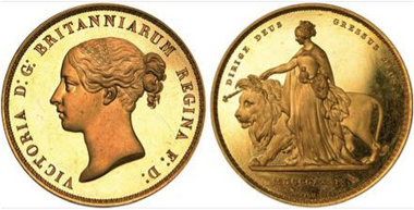 Victoria proof 5 pounds, 1839. Estimate: £150,000. Realised: £340,000.