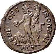 Domitius Domitianus in Ägypten. Follis 296/298, Alexandria. Selten. Fast Vorzüglich.