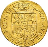 Polen Königreich, Johann Kasimir. Doppeldukat 1658, Krakau. Gold. Sehr selten, sehr schön.