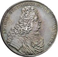 Schwarzburg-Sondershausen, Fürstentum. Anton Günther II. Reichstaler 1710, Arnstadt. Schöne Patina, äußerst selten Vorzüglich.