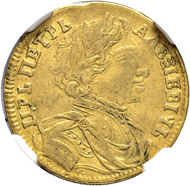 Lot 1016: Czar Peter I. Ducat 1712, Red Mint. Extremely rare. NGC XF 45. Estimate: 20'000 CHF.