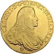 Los 3142: Belgien, Grafschaft Flandern. Charles II. 8 Souverain d'or 1687, Brügge. Sehr seltene und prachtvoll erhaltene Münze. Vorzüglich-FDC. Taxe: 30'000 CHF.