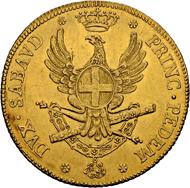 Los 3482: Italien, Savoyen/Sardinien. Vittorio Amedeo III. Carlino da 5 Doppie 1786. Turin. Sehr seltene Münze in überdurchschnittlicher Erhaltung. Vorzüglich-FDC. Taxe: 35'000 CHF.