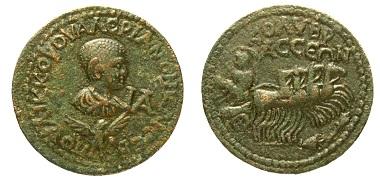 Kupfermünze, Pamphylien, Kolybrassos, Valerian II. (253-258 n.Chr.). Foto: © OeNB, Geldmuseum.