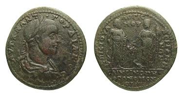 Kupfermünze, Mysien, Pergamon und Nikomedia, Gordianus III. (238-244 n.Chr.). Foto: © OeNB, Geldmuseum.