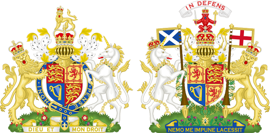 The lion and the unicorn as they appear on both versions of the Royal coat of arms of the United Kingdom. Source: Sodacan / Wikimedia Commons / CC BY-SA 3.0.