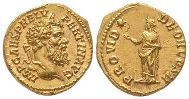 Nr. 96: Pertinax, 193. Aureus, Rom, 193. Selten. Vorzüglich. Taxe: 30.000,- Euro.