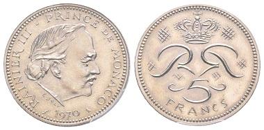 Nr. 205: Monaco. Rainier, 1949-2005. 1. Prototyp zum 5 Francs, 1970, Nickel. 5 Exemplare geprägt. PCGS SP67. Taxe: 7.000,- Euro.