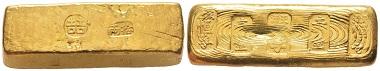 Nr. 300: China. Qing-Dynastie, 1644-1911. Goldbarren, undatiert, Tientsin. Äußerst selten. Vorzüglich. Taxe: 28.000,- Euro.