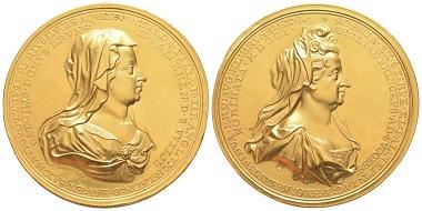 Nr. 871: Großbritannien. Wilhelm III. Goldmedaille 1701 für Mathilda und Sofia von Hannover, von Samuel Lambelet. Vorzüglich. Taxe: 15.000,- Euro.