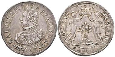 Nr. 980: Italien / Parma. Ranuccio I. Farnese, 1592-1622. Doppio ducatone, 1615. Sehr selten. Gutes sehr schön. Taxe: 18.000,- Euro.