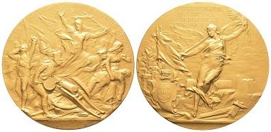 Nr. 1200: Portugal. Goldmedaille 1914 auf die Jahrhundertfeier des siegreichen Endes der Napoleonischen Kriege. FDC. Taxe: 30.000,- Euro.