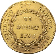 Lot 262: Bern. VI ducats 1796. HMZ 2-207g. 26.4 mm.