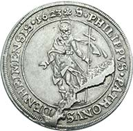 Bishopric of Speyer. Philipp Christoph Freiherr von Soetern, 1610-1652. Reichsthaler 1623 on the fortress of Udenheim. From Künker auction188 (2011), 1248. Estimate: 15,000 Euros.