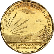 Lot 1062. Sweden. Frederik I, 1720-1751. Gold medal of 6 ducats 1746 on the birth of his grandson, Prince Gustav, minted from the gold yielded at the Västra Silvberg mine. Unique. Almost FDC. Estimate: 9,000 euros